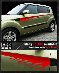 For Kia Soul Side Flame Accent Sport Stripes Decals 2008 2009 2010 2011 Pro Moto