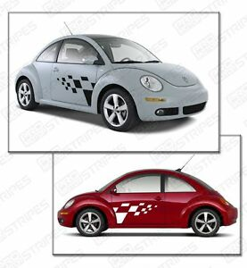 Vw Volkswagen New Beetle Rally Checkered Side Sport Stripes 1997 2011 2012 2017