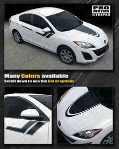 Mazda 3 Hood And Side Sport Hash Stripes Decals 2009 2010 2011 2012 2013