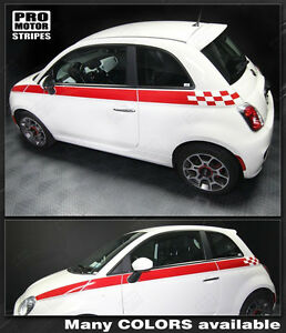 Fiat 500 Checkered Upper Body Side Stripes Decals 2012 2013 2014 2015 Pro Motor