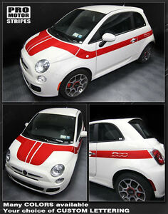 Fiat 500 Hood To Side Stripes Decals 2012 2013 2014 2015 Pro Motor