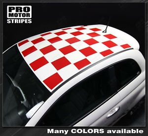Fiat 500 Roof Top Checkered Rally Stripes Decals 2012 2013 2014 2015 Pro Motor