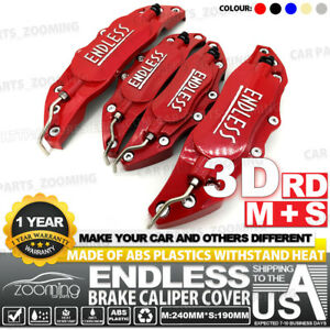 Metal 3d Endless Universal Style Brake Caliper Cover Front rear 4pcs Red Lw01