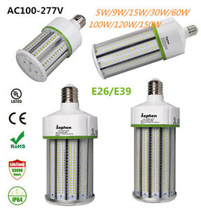 60w 100w 150w Led Corn Cob Light E26 E39 Screw Base Lamps Epistar Ac100 277v Ul