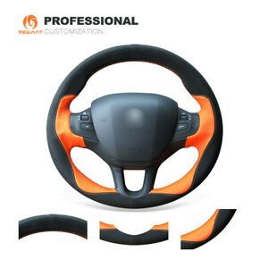 Soft Orange Leather Black Suede Steering Wheel Cover Wrap For Peugeot 208 2008