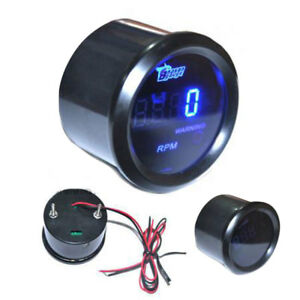 Universal 2 52mm Digital Blue Led Rpm Meter Tachometer Tacho Gauge Auto Motor