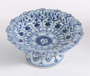 China Chinese Blue White Porcelain Pedestal Bowl Ming Dynasty Ca 16 17th C