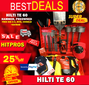 Hilti Te 60 Hammer Preowned Free Sid 2 a Bits Chisels Extras Fast Ship