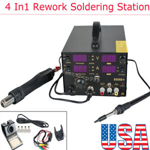 4 In1 800w 909d Rework Soldering Desolder Iron Station Hot Air Gun Power Supply