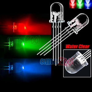 500pcs X Ultra bright 10mm 4 Pin Common Anode Rgb Led Water Clear