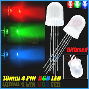100pcs X 10mm 4 Pin Diffused Common Cathode Rgb Led Red green blue