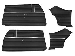 1968 Chevelle Ss Coupe Deluxe Black Interior Door Panel Watershield Set Complete