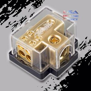 Gold Power Ground Distribution Block 0 2 4 8 Gauge In 4 8ga Out Marine Car Awg