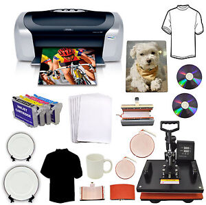 5in1heat Press epson Printer C88 refil t shirts mugs hat plates puzzle mouse Pad