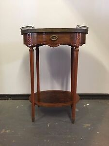 French C1900 Oval Louis Xvi Style Side Table W Marble Top Burled Walnut Detail