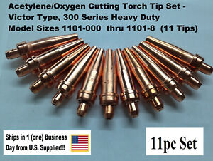 Oxygen acetylene Cutting Torch Tip Set Victor Type Hd 300 Series 11pcs