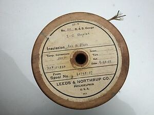 Vintage Leeds Northrup Cable Spool I c Duplex Wire 1952 1950s Asb Glass 20