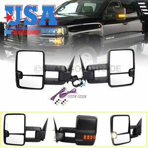 Power Heated Extendable Signal Towing Mirrors For Chevy Silverado 1500 2003 2006