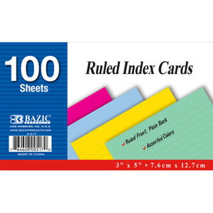 Bazic 100 Ct 3 Inch X 5 Inch Ruled Colored Index Card Pack Of 36