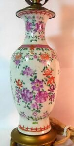 Antique French Samson Baluster Vase As Lamp Hand Painted Flowers