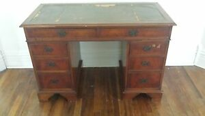 Antique Mahogany Desk With Leather Top