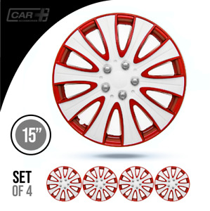 Set 4 Hubcaps 15 Wheel Cover Tampa White Red Abs Easy To Install Universal Fit
