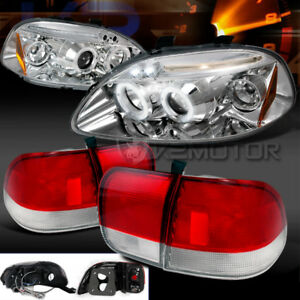 Depo Fit 96 98 Civic 4dr Sedan Dual Halo Led Projector Headlights Tail Lamps