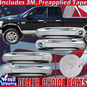 For 2002 2008 Dodge Ram 05 11 Dakota Chrome Door Handle Covers W Psk Gas Cover