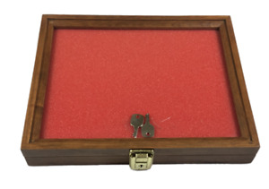 Cherry Wood Display Case 9 X 12 X 2 For Arrowheads Knives Collectibles Coins