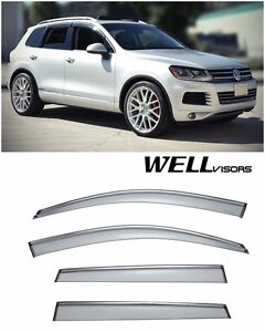 For 11 up Volkswagen Touareg Wellvisors Side Window Visors W Chrome Trim