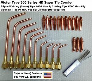 Victor Type Hd 300 Series Super Torch Tip Set welding Cutting Gouging 25pc