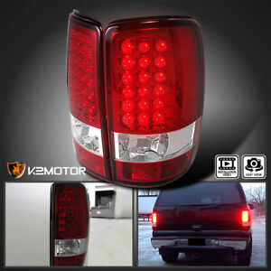 2000 2006 Gmc Yukon Denali Xl Red Lens Led Tail Lights Brake Lamp