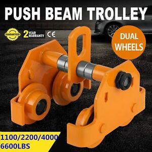 0 5t 1t 2t 3t Push Beam Track Roller Trolley Solid Steel Dual Wheels Winch New