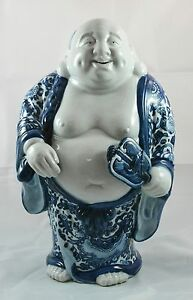 Large Japanese Kutani Hotei Blue And White Porcelain Figurine 12 Inches