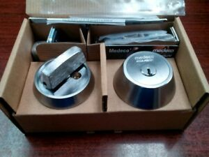 New Medeco M3 Maxum Single Cylinder Deadbolt With 2 Keys And Duplication Card