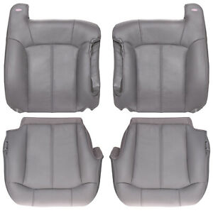 2000 2002 Chevy gmc Truck Full Front Row Factory Match Leather Kit Pewter Gray