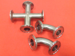 Stainless Steel Fittings Lot Of Three 3 1 1 2 Tri clamp Connections