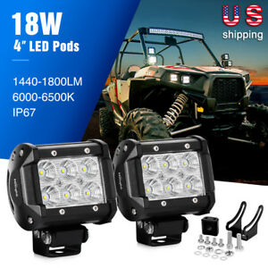 Nilight 2pcs 18w 4 inch Led Work Light Bar Flood Driving Fog Lights Off Road 5 7