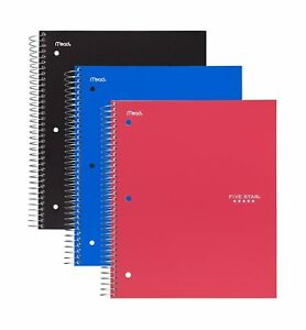 Five Star Spiral Notebook 3 Subject College Ruled 150 Sheets Black Cobalt
