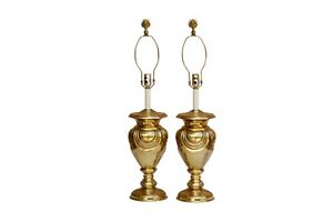 Stunning Art Deco Style Solid Brass Table Lamps By Stiffel A Pair
