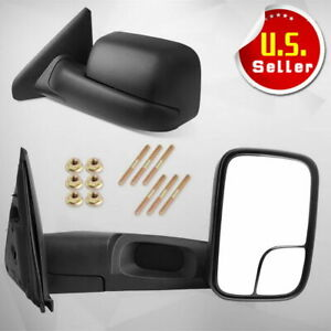 Manual Towing Mirrors Fit For 2002 2008 Dodge Ram 1500 03 09 Ram 2500 3500 Truck