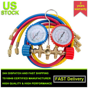 R134a R12 R22 Ac A C Manifold Gauge Set Refrigeration Hose Air Conditioner