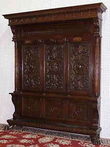 Antique Country French Carved Walnut Entry Hall Tree Circa 1870