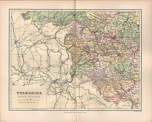 1895 Antique County Map Yorkshire South Western Elland Leeds Wakefield Tadcaste