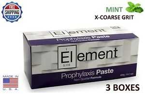 Element Prophy Paste Cups Mint X coarse 200 box Dental W fluoride 3 Boxes