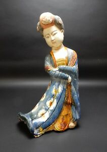 Beautiful Chinese Sancai Drip Glazed Tang Style Woman Statue 19 Inches