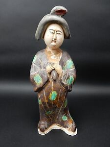 Beautiful Chinese Sancai Glazed Tang Style Woman Statue 15 Inches