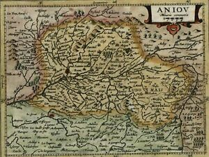 Anjou Aniou France Beautiful Antique C 1628 Mercator Minor Old Map