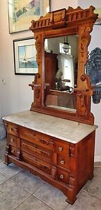 Antique Victorian Eastlake Marble Top Dresser With Mirror Walnut W Burl Veneer