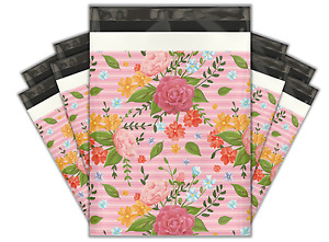 10x13 100 Floral Roses Designer Poly Mailers Shipping Envelopes Bags